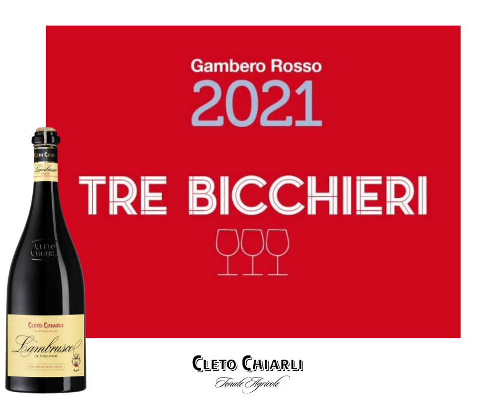 The Tre Bicchieri 2021 award for Lambrusco del Fondatore 2019